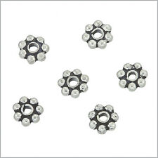 20 Bali Sterling Silver Daisy Rondelle Spacer Beads 4mm #51230