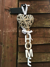 Rustic Country Wicker Hanging Heart White Home Letters Shabby Wedding Decoration
