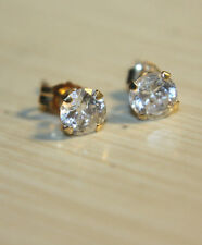 QVC Diamonique 14k Yellow Gold 1ct round cut CZ stud earrings JCM Jacmel