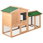 Large 2 Storey Rabbit Hutch Chicken Coop Cage Guinea Pig Ferret House Fir Wood