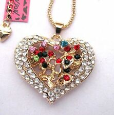 Betsey Johnson shiny crystal Colorful butterfly/heart Pendant necklace#345L