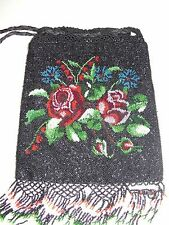ANTIQUE MICRO BEADED PURSE  FLOWERS FRINGE DRAWSTRING FRENCH BAG