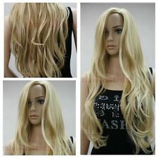Ladies Women's Fashion Long Blonde Curly Wavy Natural Hair Full Wigs + Wig Cap