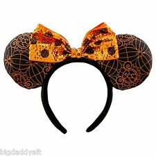 New Disney Parks Minnie Mouse Spider Web Orange Black Sequin Ears Bow Headband