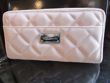 NEW ST JOHN KNIT QUILTED LT PINK GELATO LOGO WALLET LEATHER