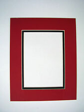 Picture Frame Mat set of two 11x14 for 8x10 photo Red with Black liner two mats