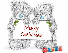 2 Bears Christmas 48 Large Sticky White Paper Stickers Labels New