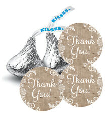 108 Vintage Burlap and Lace Thank You! Wedding Hershey Kiss Stickers Favors