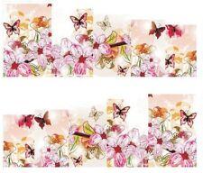 Nail Art Decals Transfers Stickers Pink Flowers & Butterflies (DA145)