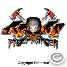 4x4 Firefighter Truck Decal - Fire Axe Skull Fireman Sticker 2 Decals IAFF