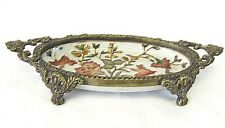 Vintage Asian Colorful Cloisonne Decorative Small Footed Tray Brass Baked Enamel