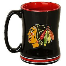 Chicago Blackhawks Coffee Mug Relief Sculpted Team Color Logo 15 oz NHL Black