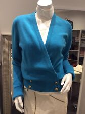 CHANEL Vintage Blue Cashmere Cardigan Sweater  Top 38/40