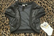Lster Clothing Woman Black NWT $40 Half Vest Bling sequin Small S