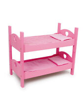 New Pink Dolls Bunk Bed Cot Cradle  + Bedding Childrens Girls Wooden Toy