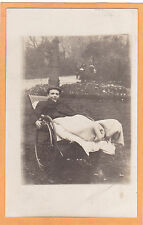 Real Photo Postcard RPPC - Boy in Wheelchair Outdoors - Disability - Invalid