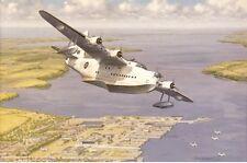 Aeronave Avión Barco corto Sunderland volar en Blanco Tarjeta Cumpleaños Padres Día