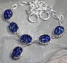 SILVER Vintage Style Royal Blue Titanium Druzy Drusy Necklace WN10409