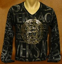 Brand New MEN'S VERSACE Slim Fit Black Color Long Slv T-SHIRT Size XL