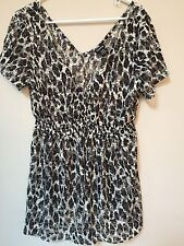 Womens Sheer Leopard Short Sleeve Shirt By Torrid Size 1 NWT