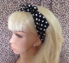 BLACK WHITE POLKA DOT COTTON BENDY WIRE HAIR WIRED HEAD BAND ROCKABILLY 50s