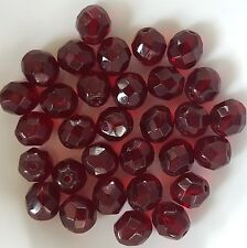 30 Garnet Dark Red Czech Fire Polish Glass Beads crafts 8mm -No. 9011