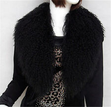 Women Large Genuine Mongolian Fur Collar New Currents Real Lamb Fur Shawls Scarf