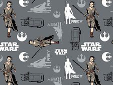 FAT QUARTER  IRON STAR WARS THE FORCE AWAKENS REY QUILTING COTTON CAMELOT FABRIC