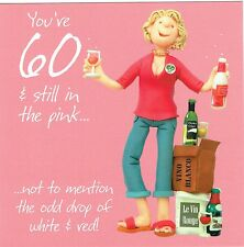 60th Birthday Card From the One Lump or Two Collection, age 60, Wine Design