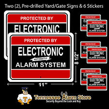 2 Security Burglar Alarm System Yard Signs & 6 Window Adt'l Alarm Stickers R&B