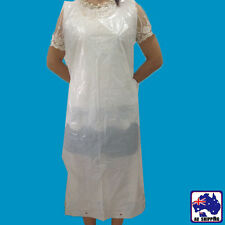 100x Disposable Aprons PE White Poly Food Clean Water Proof Covers HKIA30965x100
