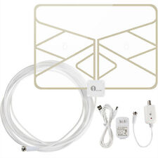 Digital Indoor Amplified Window HDTV TV Antenna 50 Miles Range 20FT Coax Cable