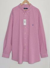 RALPH LAUREN Polo pink white check shirt checked plaid 5XL 5XB 5X BIG XXXXXL