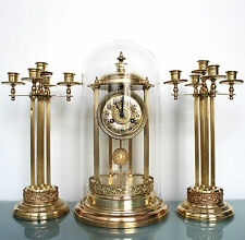 TOBIAS BAUERLE Mantel TOP! Clock SET German DOME PILLAR Sidepieces Antique Chime