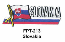 """1-1/2'' X 4-1/2"""" SLOVAKIA Flag Embroidered Patch"""