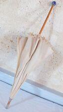 ombrelle ancienne pommeau céramique bleu et laiton cane