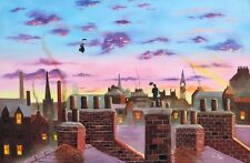 Mary Poppins and Bert original oil painting on canvas Gordon Bruce new art