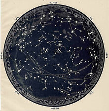 Poster-Vintage 1963 constellations star map (ZODIAC Galaxy Univers Lune mars)