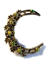 """Crescent Moon Pin Brooch Antiqued Style Gold Tone Green Enamel Accents 1.25"""""""