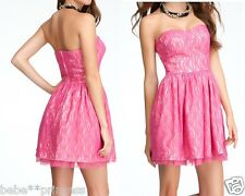 NWT bebe strapless hot pink beige lace flare party top bustier dress M medium 6