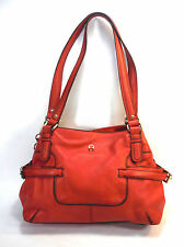 ETIENNE AIGNER cherry red leather black piping double compartment large tote