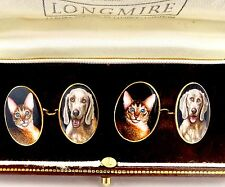 LONGMIRE ENGLAND 18K GOLD HAND PAINTED ENAMELED CATS & DOGS CUFFLINKS ORIG BOX