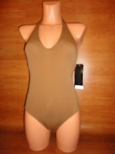 * Size 10 Womens IT Figures Swimsuit Swim Suit Brown Solid Halter One Piece