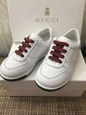 NEW GUCCI KIDS PELLE GOMMA NAPPA WHITE SNEAKERS SHOES SZ 23, 100% AUTHENTIC