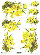 Rice Paper for Decoupage Scrapbooking, Yellow Daffodils A4 ITD R419