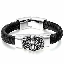 Men's Braided Black Genuine Leather Stainless Steel Lion Head Bracelet Wristband
