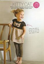 Knitting Pattern Girl's Cat Motif Dress 2-10 Years ROWAN ARAN Yarn