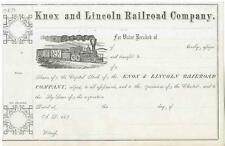 187_ Knox & Lincoln RR Stock Certificate