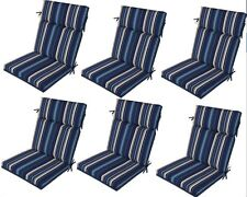 Blue Replacement Patio Cushions Set of 6 Reversible Outdoor Dining Chair Seat Pa