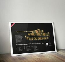 Panzer Tiger Tank Ausf E Wall Poster 50x70cm World of tanks technical print art